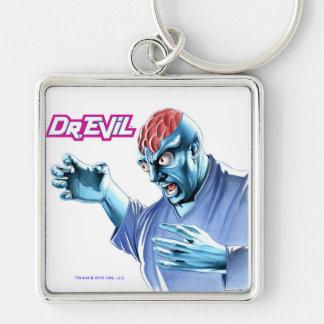 El Dr. Evil Keychain Llavero Cuadrado Plateado