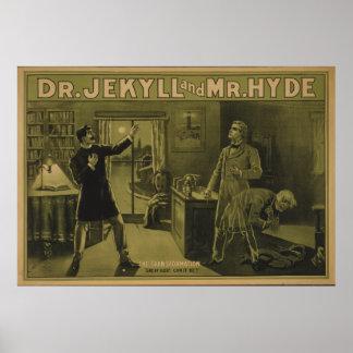 El Dr. Jekyll y poster de teatro 1880 de Sr. Hyde