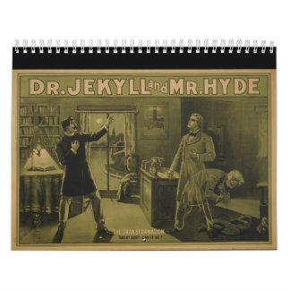 El Dr. Jekyll y poster de teatro 1880 de Sr. Hyde Calendario De Pared