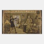 El Dr. Jekyll y Sr. Hyde Vintage Poster Rectangular Pegatina