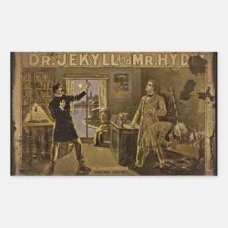 El Dr. Jekyll y Sr. Hyde Vintage Poster Pegatina Rectangular