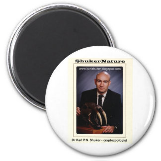 El Dr. Karl Shuker y cráneo de Smilodon - ShukerNa Imán Redondo 5 Cm