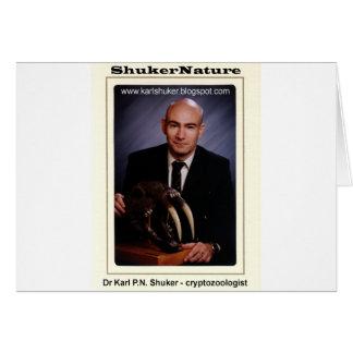 El Dr. Karl Shuker y cráneo de Smilodon - ShukerNa Tarjeta De Felicitación