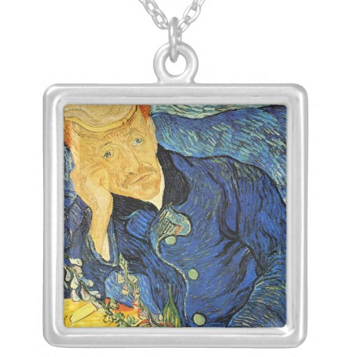 El Dr. Paul Gachet Portrait, Vincent van Gogh Collar Plateado