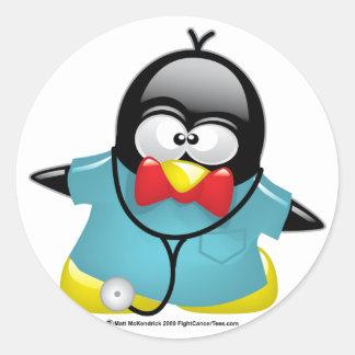 El Dr. Penguin Pegatina Redonda
