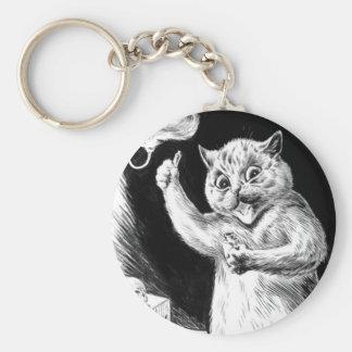 El Dr. Quack de las ilustraciones del gato de Loui Llavero Redondo Tipo Pin