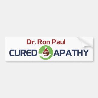 El Dr Ron Paul curó mi apatía Pegatina De Parachoque