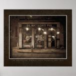 El Dr. Watsons Pub, FALSO POSTER del VINTAGE de Ph