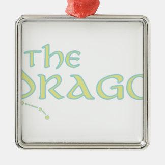 El dragón adorno navideño cuadrado de metal