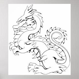El dragón asiático de Tatsu es criaturas míticas Póster