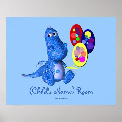 El dragón azul embroma el poster personalizado sit