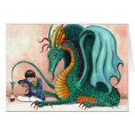 El dragón cuidado en exceso tarjetón