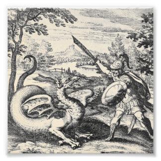 El dragón de la alquimia lucha al gladiador cojinete