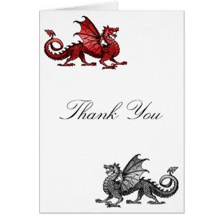 El dragón de plata rojo le agradece cardar tarjeta pequeña