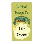 El dragón del Bookplate respira la etiqueta Etiqueta De Envío