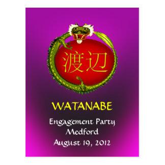 El dragón del monograma de Watanabe invita Tarjetas Postales