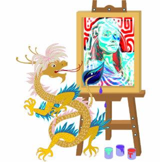 El dragón del oro pinta su escultura del retrato escultura fotográfica