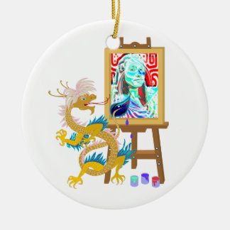 El dragón del oro pinta su ornamento de la ornato
