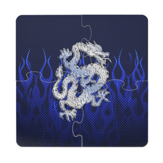 El dragón en cromo tiene gusto de estilos azules posavasos de puzzle