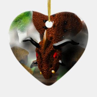 El dragón en el pueblo adorno de cerámica en forma de corazón