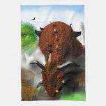 El dragón en el pueblo toallas de mano