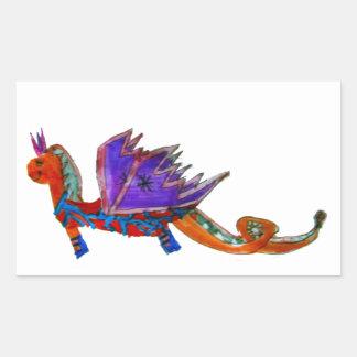 El dragón feliz pegatina rectangular