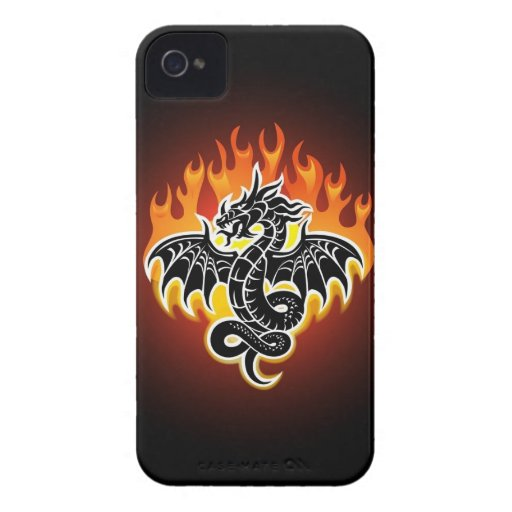 El dragón flamea el caso del iPhone 4 iPhone 4 Case-Mate Cobertura