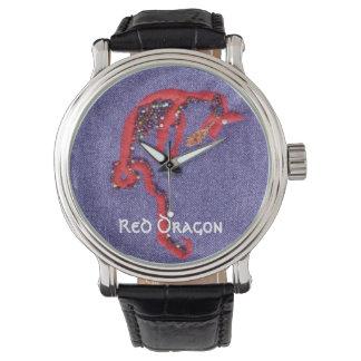 El dragón gotea el bordado del dril de algodón relojes