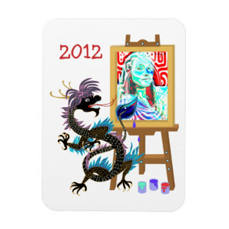 El dragón negro pinta su retrato en Magne superior Imán De Vinilo