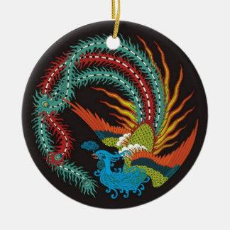 """El """"Dragón-Pavo real chino diseñó el ornamento """" Adorno Navideño Redondo De Cerámica"""