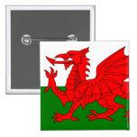 El dragón rojo [bandera de País de Gales] Pin Cuadrada 5 Cm