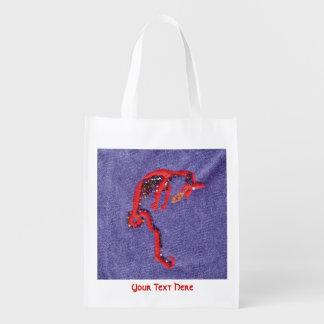 El dragón rojo gotea el bordado del dril de bolsa reutilizable