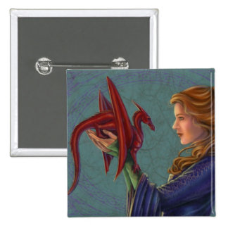 El dragón rojo joven pin cuadrado