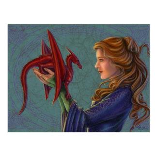 El dragón rojo joven postales