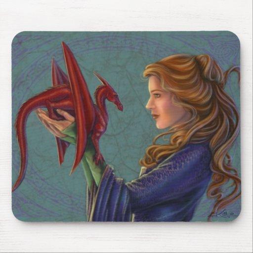 El dragón rojo joven tapetes de raton