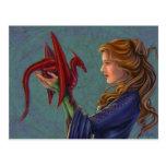 El dragón rojo joven tarjetas postales