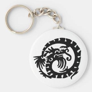 El dragón se encrespó en un círculo llavero redondo tipo pin