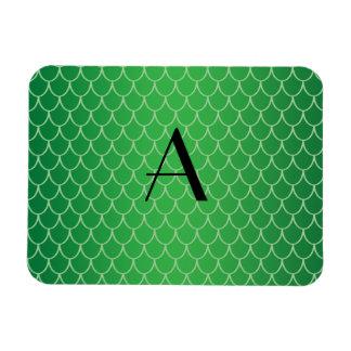 El dragón verde escala el monograma iman de vinilo