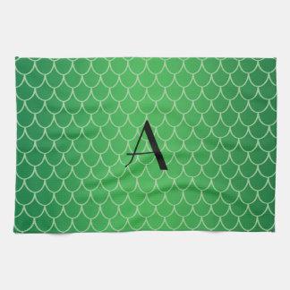 El dragón verde escala el monograma toalla de cocina