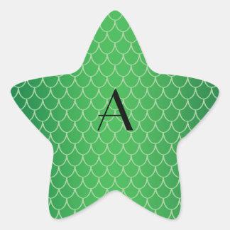El dragón verde escala el monograma calcomanía cuadrada personalizada