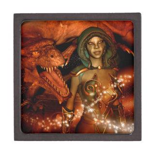 El dragón y el duende hermoso caja de recuerdo de calidad