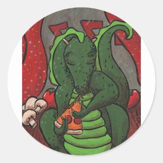 El dragón y la pizza pegatina redonda