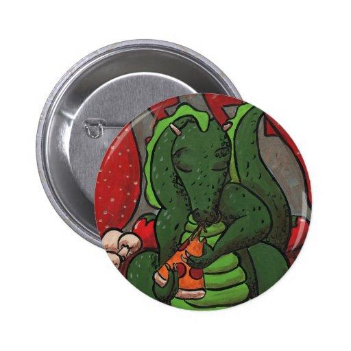 El dragón y la pizza pin redondo 5 cm