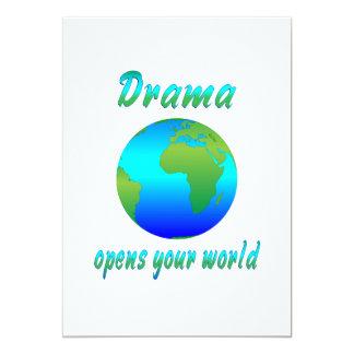 """El drama abre los mundos invitación 5"""" x 7"""""""