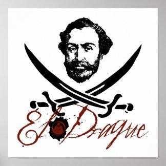 El Draque Pirate Insignia Poster