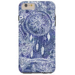 El dreamcatcher azul de Boho empluma doodles Funda Para iPhone 6 Plus Tough