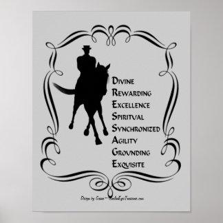 El Dressage es silueta del caballo y del jinete Póster