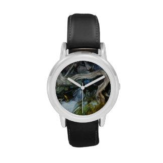 El Driftwood en el río oscila impresionismo abstra Relojes De Pulsera