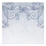 El dril de algodón azul claro remolina las invitac comunicados