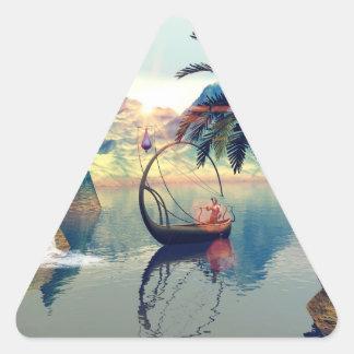 El duende conduce su barco de la lámpara pegatina triangular